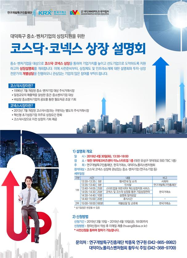 코스닥·코넥스 상장 설명회 포스터. 특구재단 제공